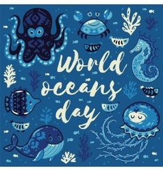 World oceans day card with cute animals vector