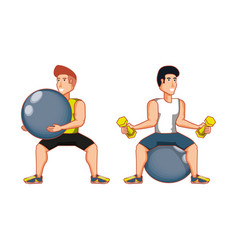 Young athletic men practicing pilates vector