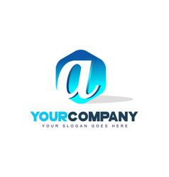 a letter logo hexagon shape modern design vector image vector image