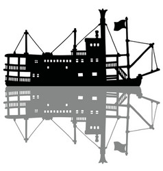 the black silhouette of a vintage steamboat vector image vector image