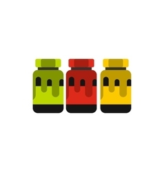 Three plastic jars with colored paint icon vector image