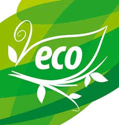 Abstract eco logo with floral patterns vector image