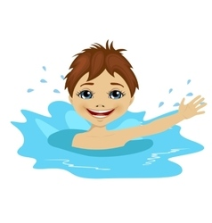 active little boy swimming happy in the water vector image vector image