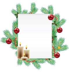 empty list decorated with christmas branches vector image