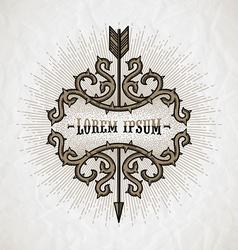 Line art tattoo style emblem vector image