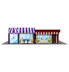 two shops in purple and red vector image vector image