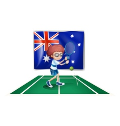 An Australian flag at the back of a tennis player vector image