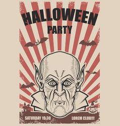 halloween party poster template vampire headtrick vector image