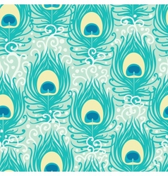 Peacock feathers seamless pattern background vector image vector image
