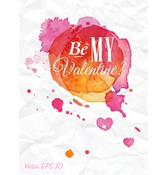 Watercolor valentines day card vector