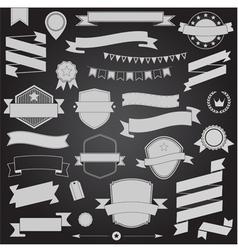 Big set retro design ribbons and badge vector image vector image