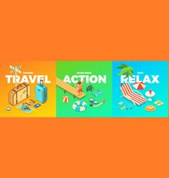 summer activities vector image vector image