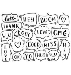 0136 hand drawn background set cute speech vector