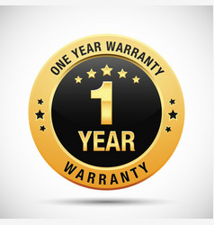 1 year warranty golden badge vector