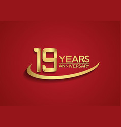 19 years anniversary logo style with swoosh vector