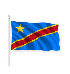 3d waving flag democratic republic congo isolated vector