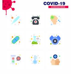 9 flat color corona virus pandemic lab chemistry vector image