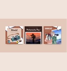 advertise template design with world photography vector image