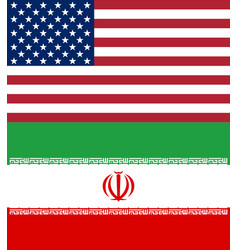 american and iranian flags official national vector image