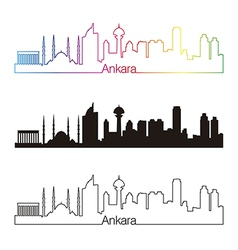 Ankara skyline linear style with rainbow vector image