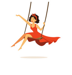 Beautiful young woman in red dress swinging girl vector