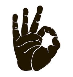 black silhouette okay hand gesture icon graphic vector image