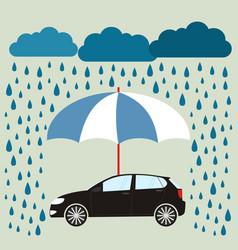 blue umbrella protecting car against rain flat vector image