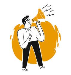 Business man shouting through loud speaker vector