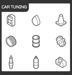 Car tuning outline isometric icons vector