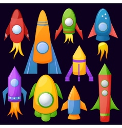 Cartoon rockets 3D set vector image