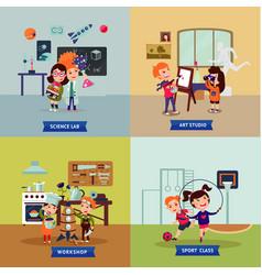 Children hobbies square concept vector