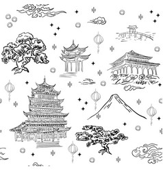 chinese landscape seamless pattern background with vector image