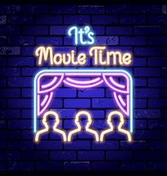 cinema and movie time neon signboard vector image