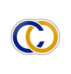 co lettermark initials gold blue symbol logo vector image