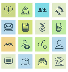 communication icons set with group member vector image