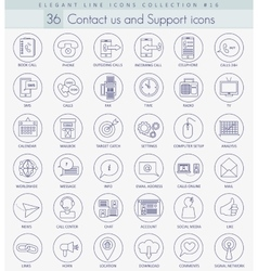 Contact us outline icon set Elegant thin vector