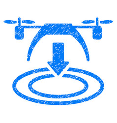 Copter landing grunge icon vector