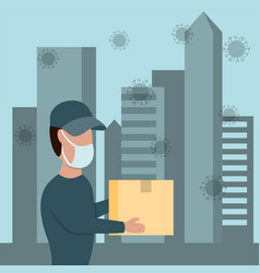 courier man in a protective medical mask holds vector image