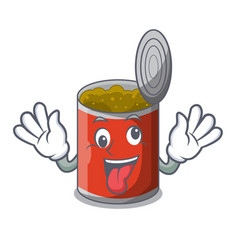 crazy canned food on the tablecloth cartoon vector image