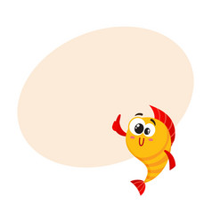 Cute funny golden yellow fish character with vector