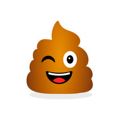cute funny poop emotional shit icon vector image