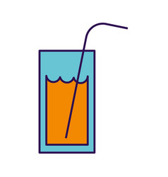 Cute orange glass juice cartoon vector