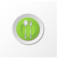 cutlery with green plate vector image