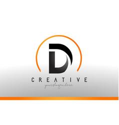 D letter logo design with black orange color cool vector