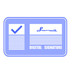 digital signature check mark on screen flat vector image