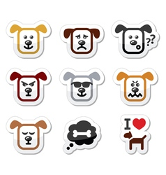 Dog icons set - happy sad angry isolated on whit vector image