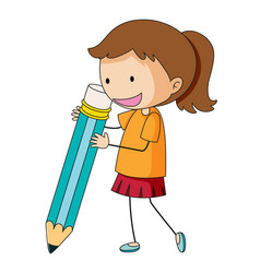 Doodle girl holding pencil vector
