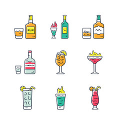 Drinks color icons set rum absinwhiskey vector