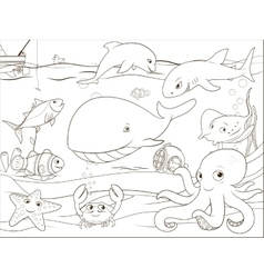 Educational game coloring book underwater life vector image