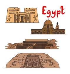 Egypt historic landmarks and sightseeings vector